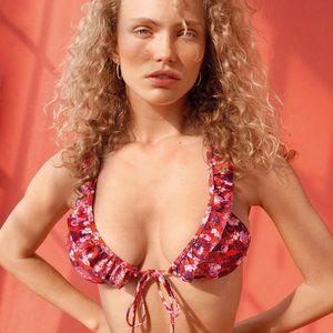 NWT Vero Moda red floral triangle bikini top